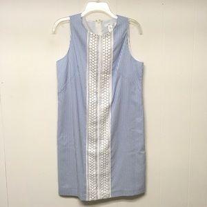 London Times Shift Dress 10 Blue White Seersucker